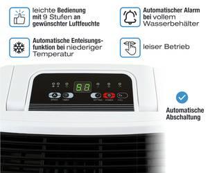 Luftentfeuchter Komerci D011A Raumentfeuchter leise, 12L/Tag, gegen  Schimmel Feuchtigkeit in Keller Wohnung Schlafzimmer
