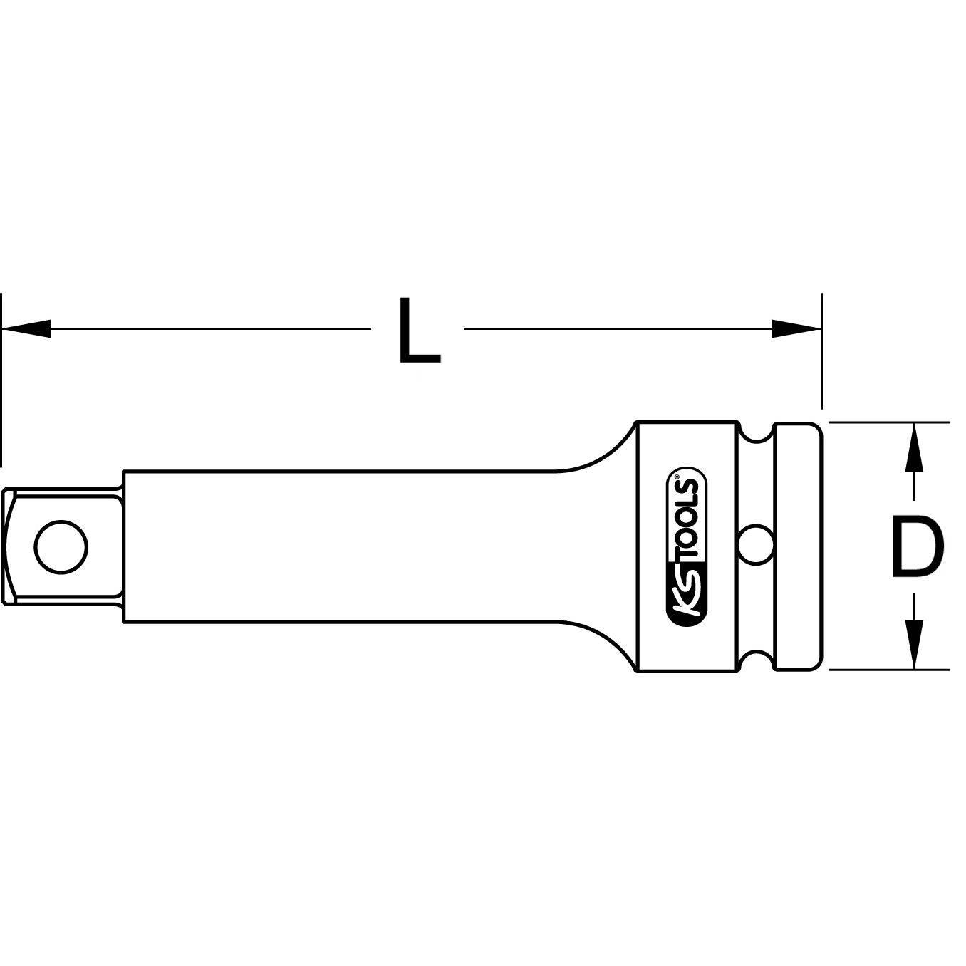 KS Tools 515.1376 3//4 Kraft-Verl/ängerung 100mm