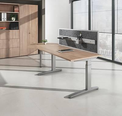 Höhenverstellbarer Schreibtisch mit C-Fuß
