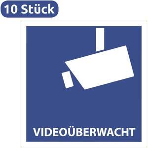 10 Videoüberwacht Aufkleber Videoüberwacht 105 X 105 Mm Videoüberwacht Aufkleber Video Warnaufkleber Warnschild
