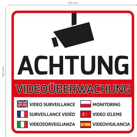 10 Videoüberwachung Aufkleber Videoüberwachung Mehrsprachig Kameraüberwachung Warnaufkleber Achtung Videoüberwacht