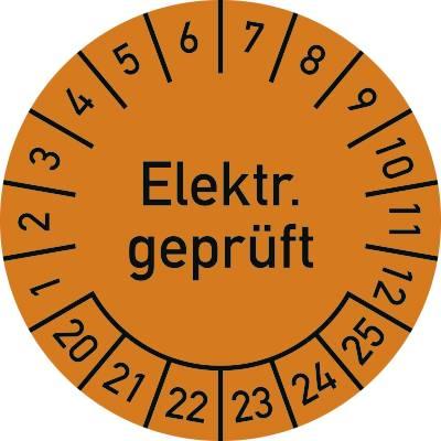 100 Stück Elektro Prüfplaketten für 8 Jahre 12 Monate Ø 30mm Prüfetiketten gelb