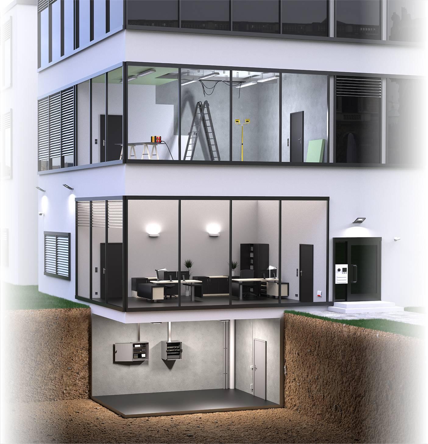 Gebäudetechnik Hausquerschnitt
