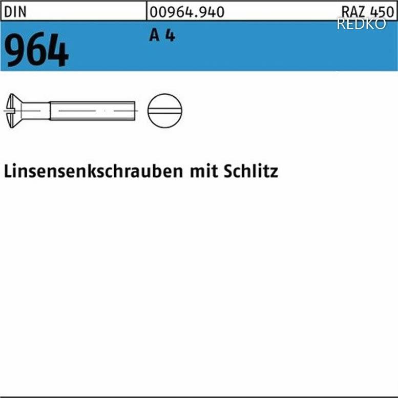 DIN 964 Linsensenkschraube mit Schlitz M 5 x 60 Messing galv vernickelt