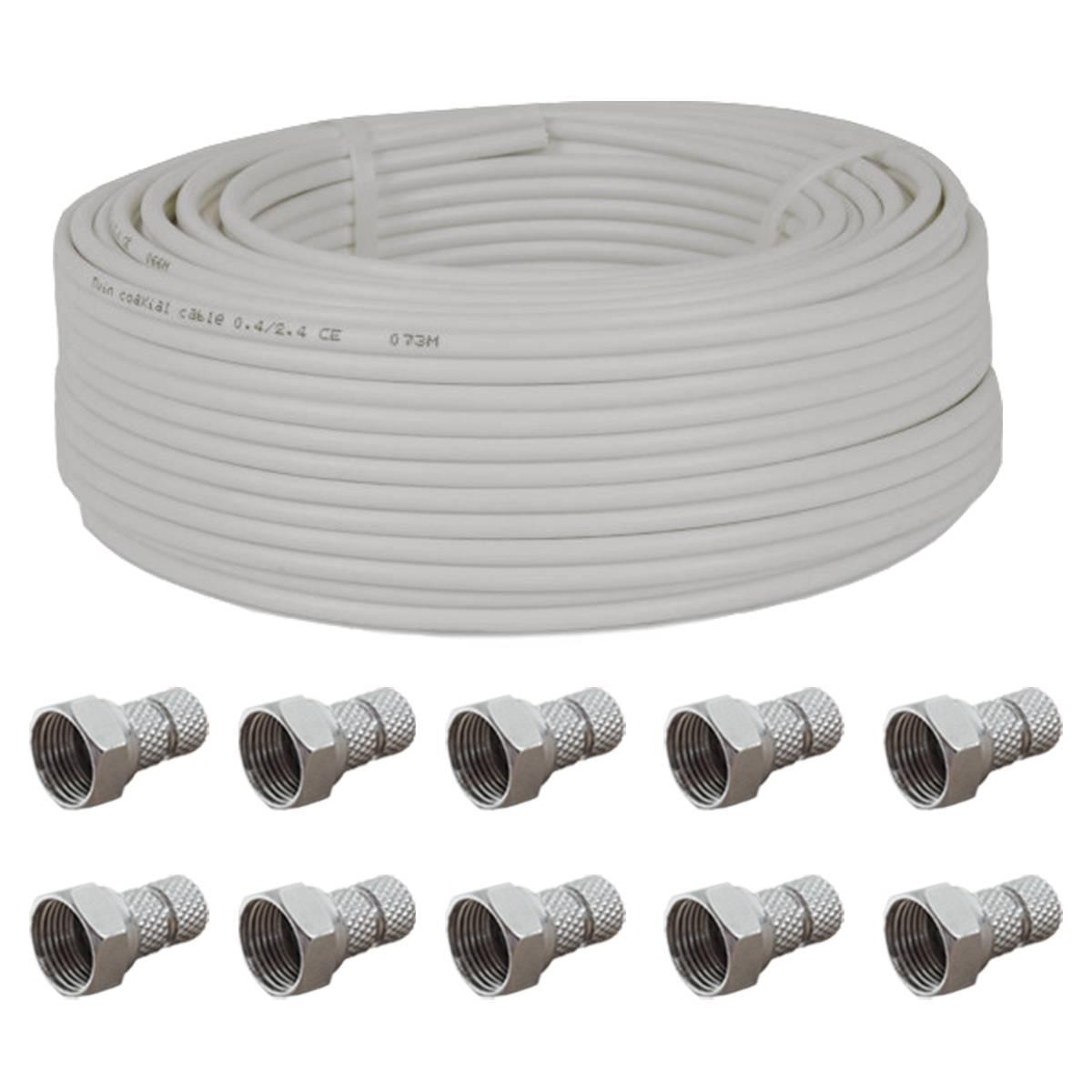 50 x TV SAT Twist-On F-Stecker Steckerlänge 20 mm mit  Ø 6,5 mm