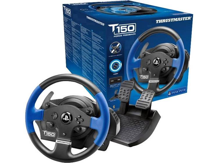 Stuur Thrustmaster T150 RS Force Feedback USB 2.0 PlayStation 3, PlayStation 4, PC Zwart/blauw Incl. pedaal