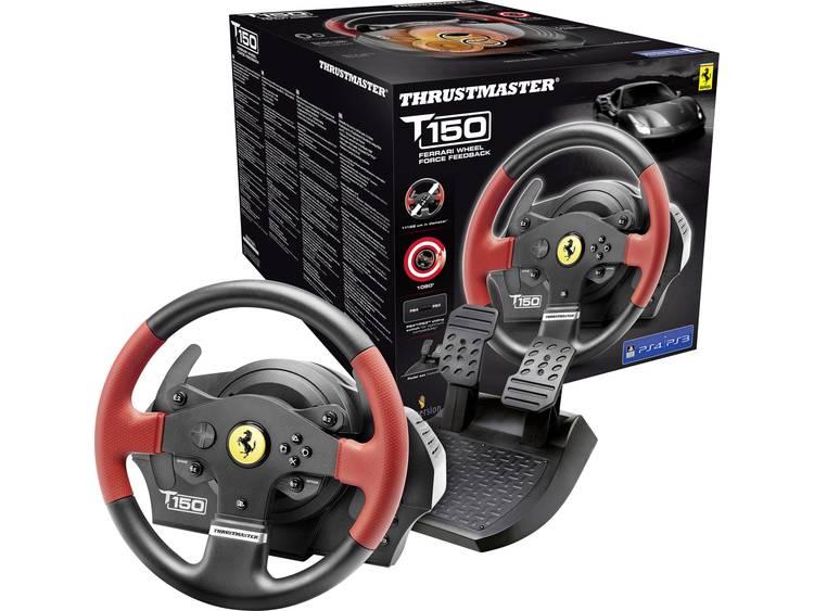 Stuur Thrustmaster T150 Ferrari Wheel Force Feedback USB 2.0 PC, PlayStation 3, PlayStation 4 Zwart/rood Incl. pedaal