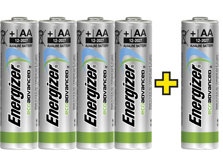 AA batterij (penlite) Energizer Eco-Advanced 4 +1 gratis Alkaline 1.5 V 5 stuks