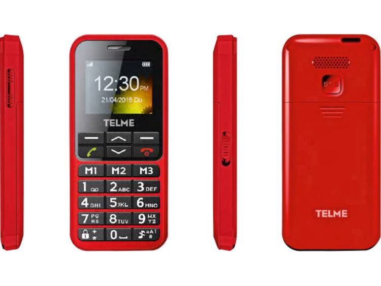 Telme C151 Senioren mobiele telefoon Met laadstation, SOS-knop Rood