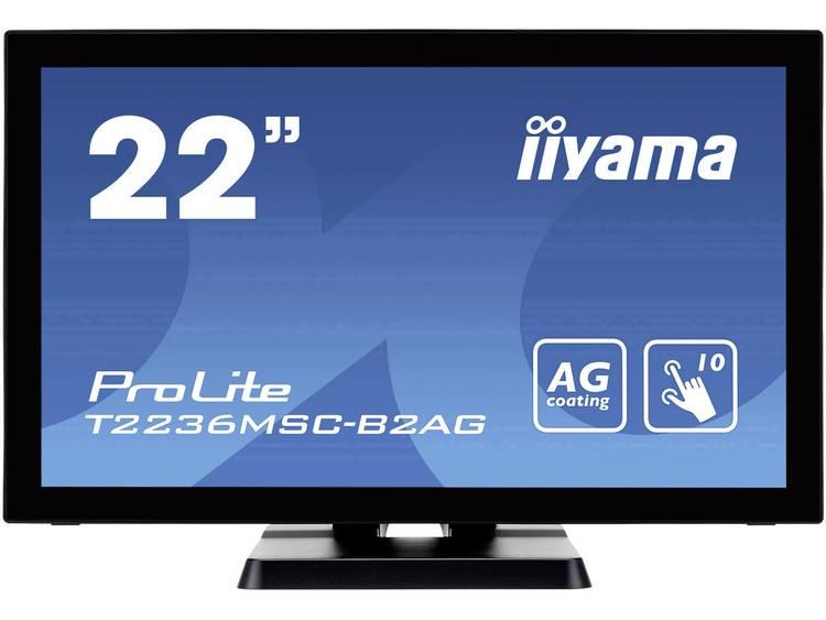 Iiyama ProLite T2236MSC-B2AG Touchscreen monitor Energielabel: B (A+ – F) 54.6 cm (21.5 inch) 1920 x 1080 pix 16:9 8 ms VGA, USB, DVI, HDMI AMVA LED