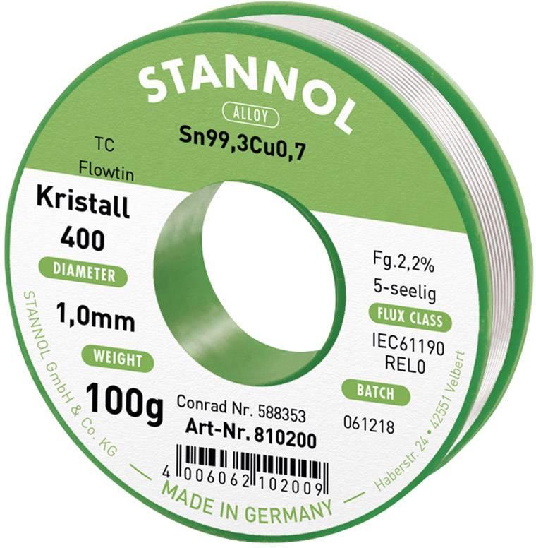 Cínová spájka PBF, Sn99Cu1, Ø 1 mm, 100 g, Stannol Flowtin TC