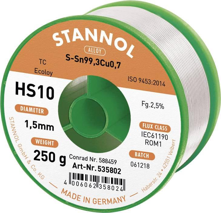 Cínová spájka PBF, Sn99Cu1, Ø 1,5 mm, 250 g, Stannol HS10 2510