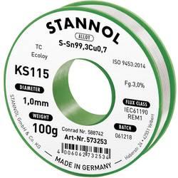 Cínová spájka PBF Sn99Cu1, Ø 1mm, 100 g, Stannol KS115