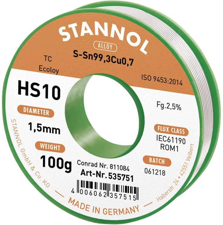 Cínová spájka PBF, Sn99Cu1, Ø 1,5 mm, 100 g, Stannol HS10 2510
