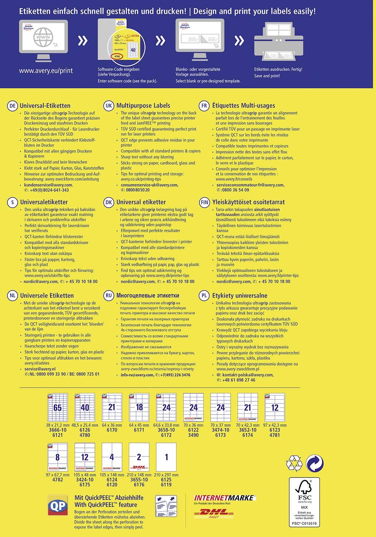 Univerzální etikety Avery-Zweckform 4780, 48,5 x 25,4 mm
