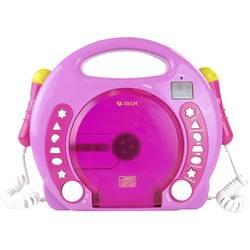 Detský CD prehrávač X4 Tech Bobby Joey CD, SD, USB vr. mikrofónu, ružová