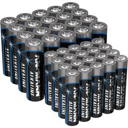 Alkalicko-manganová sada baterií Ansmann AAA, AA 40 ks