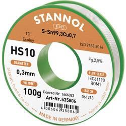 Spájkovací cín bez olova Stannol HS10 2,5% 0,3MM SN99,3CU0,7 CD 100G, Sn99.3Cu0.7, bez olova, cievka, 100 g, 0.3 mm