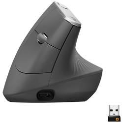 Optická ergonomická myš Logitech MX Vertical 910-005448, ergonomická, černá, stříbrná