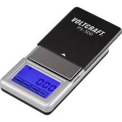 Kapesní váha VOLTCRAFT PS-200 Max. váživost 200 g Rozlišení 0.01 g na baterii černá, stříbrná Kalibrováno dle bez certifikátu