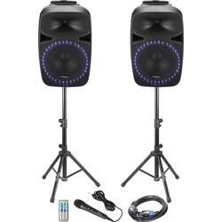Sada aktivních PA reproduktorů Ibiza Sound PKG15A-SET Bluetooth, vestavěné světelné efekty, včetně stativu, vč. mikrofonu