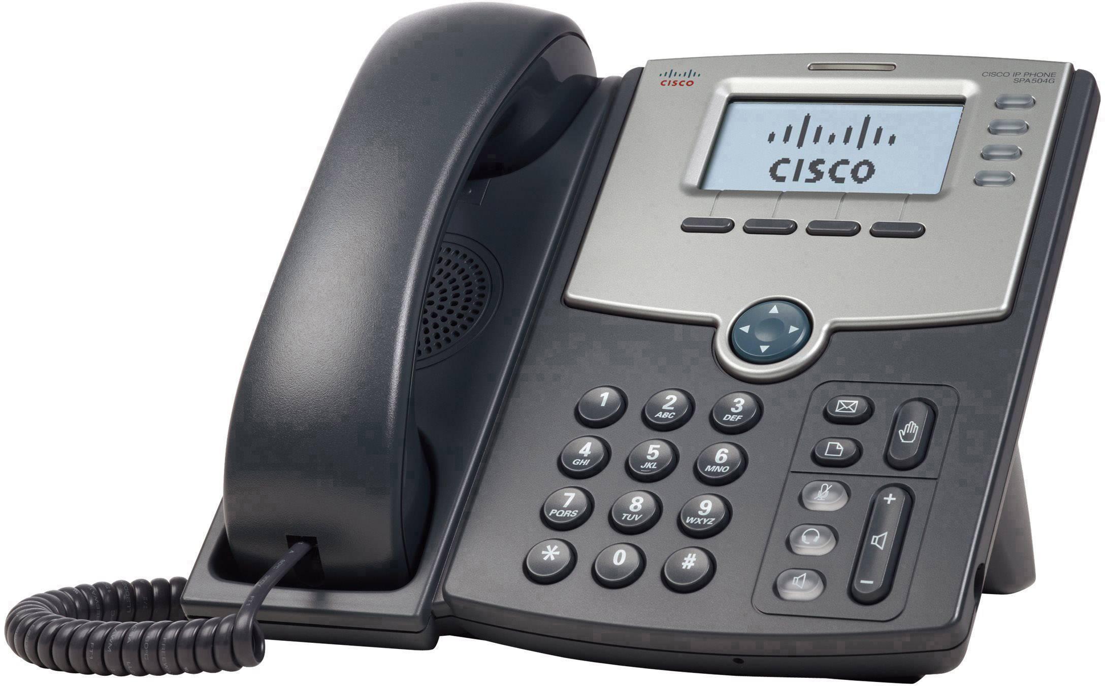 Systémový telefon, VoIP Cisco Cisco Small Business IP Phone SPA504G, V LCD displej stříbrná, tmavě šedá