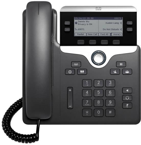 Systémový telefon, VoIP Cisco Cisco IP Phone 7821-3PCC: - SIP, SRTP, 2 LCD displej černá, stříbrná