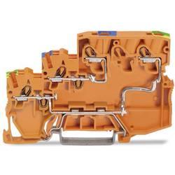 Trojúrovňová svorka akčního členu WAGO 2000-5357/102-000, pružinové připojení , 7 mm, oranžová, 15 ks