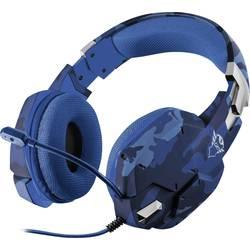 Trust GXT322B Carus herní headset na kabel na uši, jack 3,5 mm, maskáčová, modrá