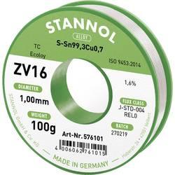 Spájkovací cín bez olova Stannol ZV16, Sn0.7Cu, bez olova, 100 g, 1.0 mm