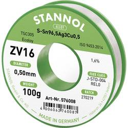 Spájkovací cín bez olova Stannol ZV16, Sn3.0Ag0.5Cu, bez olova, 100 g, 0.5 mm