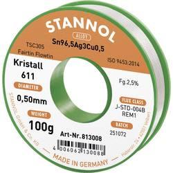 Bezolovnatý pájecí cín Stannol Kristall 611 Fairtin, bez olova, 100 g, 0.5 mm