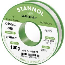 Bezolovnatý pájecí cín Stannol Kristall 600 Fairtin, bez olova, 100 g, 0.7 mm