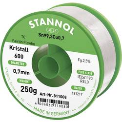 Bezolovnatý pájecí cín Stannol Kristall 600 Fairtin, bez olova, 250 g, 0.7 mm