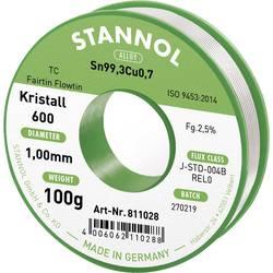 Bezolovnatý pájecí cín Stannol Kristall 600 Fairtin, bez olova, 100 g, 1.0 mm