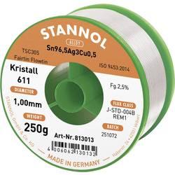 Bezolovnatý pájecí cín Stannol Kristall 611 Fairtin, bez olova, 250 g, 1.0 mm