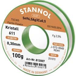 Spájkovací cín bez olova Stannol Kristall 611 Fairtin, Sn3.0Ag0.5Cu, bez olova, 100 g, 0.3 mm