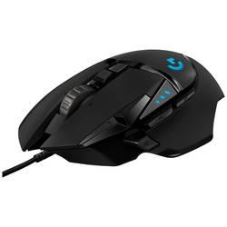 Optická herní myš Logitech G502 Hero 910-005471, s podsvícením, integrovaná profilová paměť, úprava hmotnosti, černá