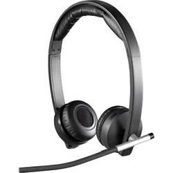 Headset k PC s USB, bezdrátový 2,4 GHz stereo, bez kabelu Logitech Dual H820e na uši