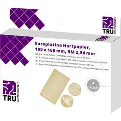 Eurodeska tvrzený papír TRU COMPONENTS (d x š) 160 mm x 100 mm, tloušťka 35 µm, RM 2.54 mm, 4 ks