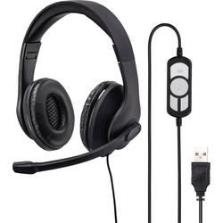 Headset k PC s USB na kabel, stereo Hama na uši černá