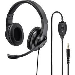 Headset k PC jack 3,5 mm na kabel, stereo Hama na uši černá