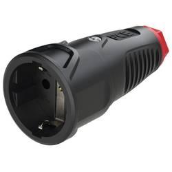 Zásuvka PCE 2520-sr, guma, termoplast, IP20, 250 V, černá, červená