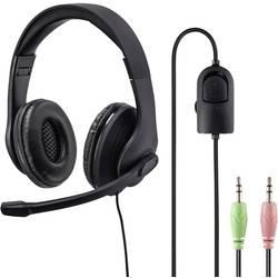 Headset k PC jack 3,5 mm stereo, na kabel Hama HS-P200 přes uši černá