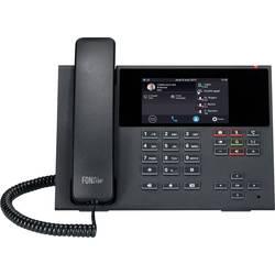 Systémový telefon, VoIP Auerswald COMfortel D-400 záznamník, handsfree, PoE, konektor na sluchátka dotykový barevný displej černá