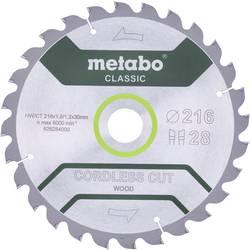 Pilový list CORDLESS CUT WOOD CLASSIC Metabo 628284000 Průměr: 216 mm Počet zubů (na palec): 28 Tloušťka:1.2 mm