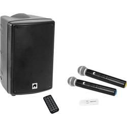 Aktivní PA reproduktor Omnitronic WAMS-08BT + UWM-2HH vč. mikrofonu, integrovaný MP3 přehrávač, bez kabelu, Bluetooth