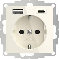 Zásuvka s ochranným kontaktem 2USB 2U-449535 s nabíjením přes USB, dětská ochrana, VDE, IP20, krémově bílá