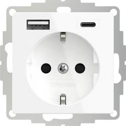 Zásuvka s ochranným kontaktem 2USB 2U-449528 s nabíjením přes USB, dětská ochrana, VDE, IP20, čistě bílá (hedvábně matná)