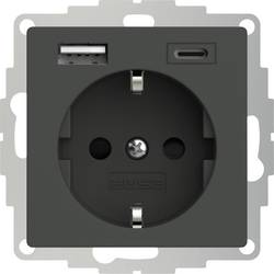 Zásuvka s ochranným kontaktem 2USB 2U-449542 s nabíjením přes USB, dětská ochrana, VDE, IP20, antracitová